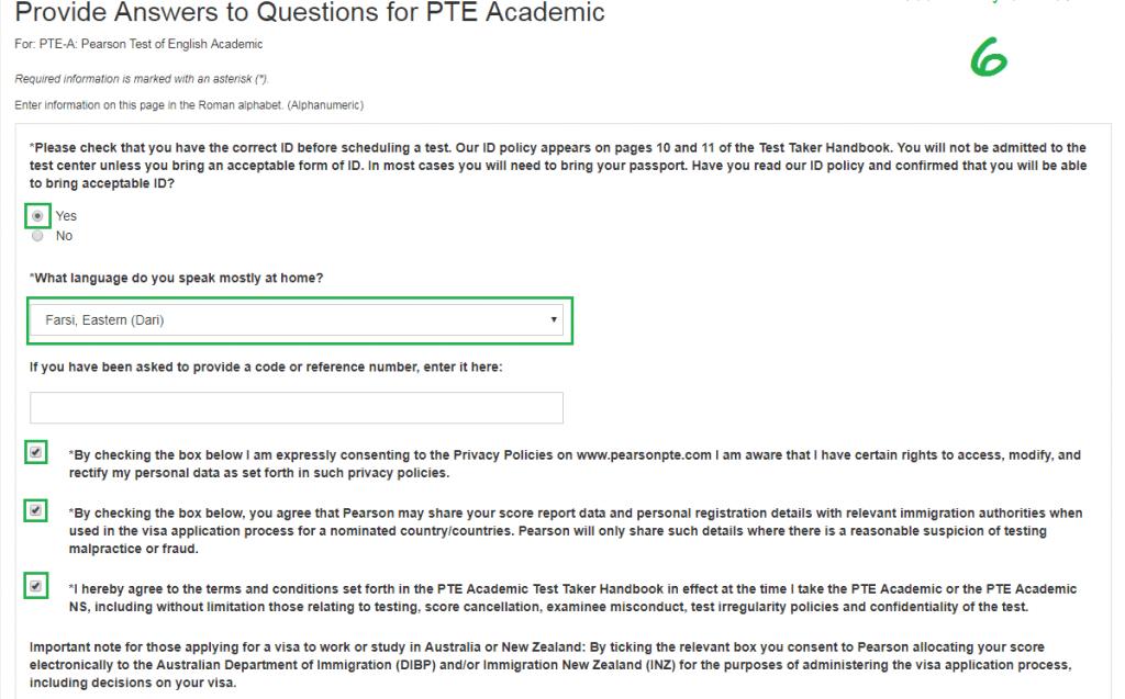 مرحله ششم ثبت نام آزمون PTE